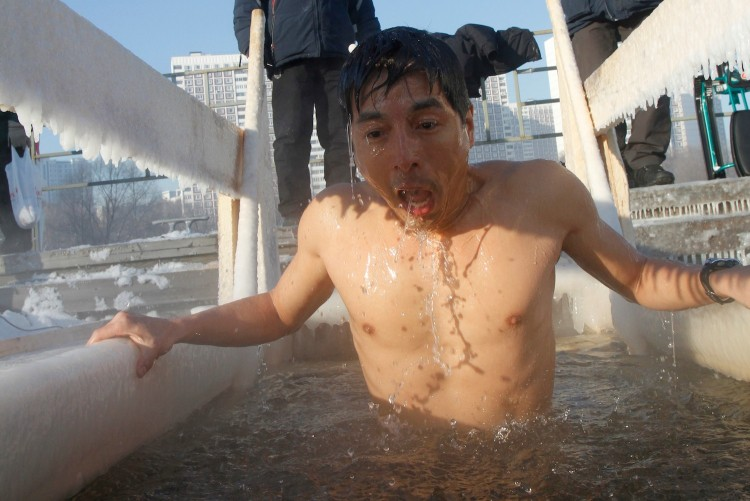 Preparing for the Russian winter, I joined the locals for winter swim. Here the air temperature in Moscow was -22 C.
