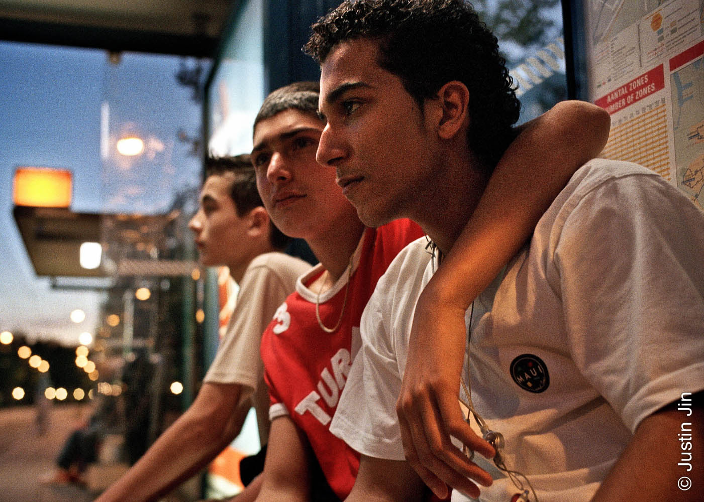 Dutch-Turkish teenager Hakan Dinc, 16, with his friends in Amsterdam.